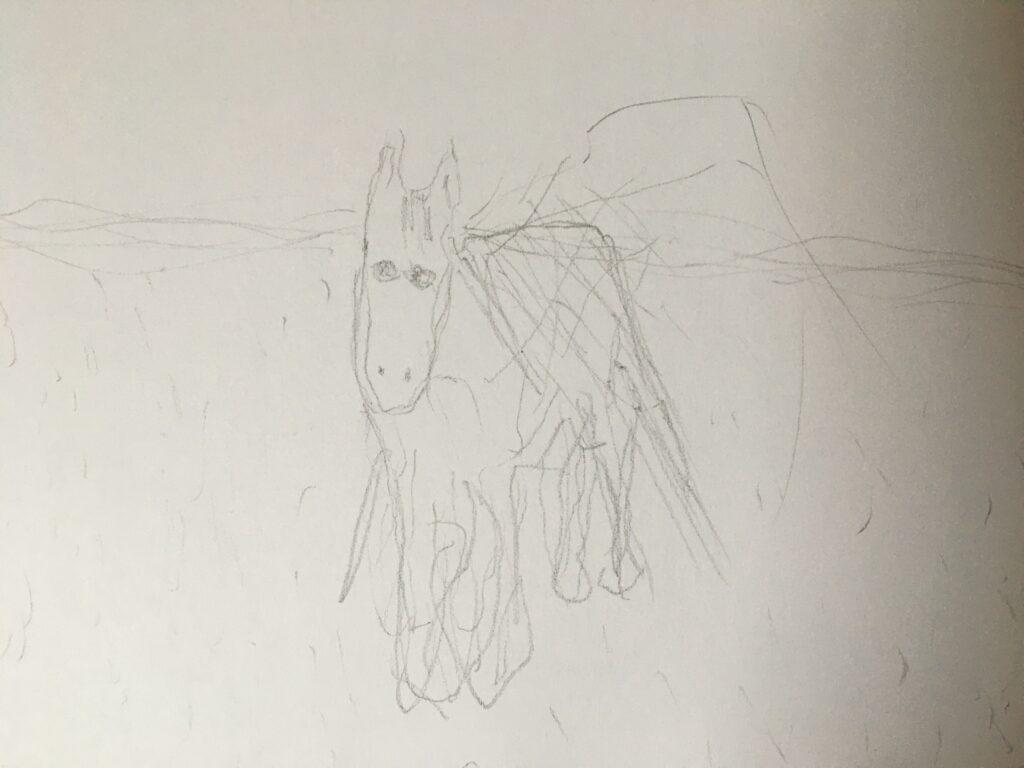Een paard, getekend met mijn linkerhand